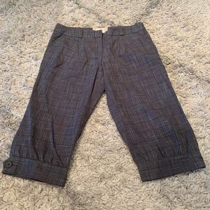 Anthropologie Cidra gray plaid cropped pants 8